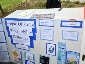 Another campus group informs walkers that communities of color are most impacted by inequitable water and sanitation provision in the United States.