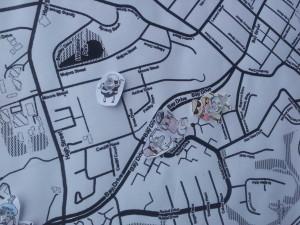 """Before embarking, walkers mapped the location of their last """"poop"""" in Santa Cruz."""